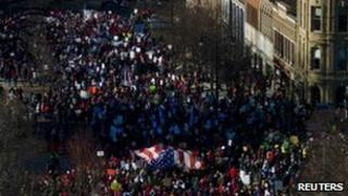 Protesters gather in Madison, Wisconsin, 19 February