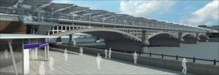 CGI image of the new Blackfriars station when complete