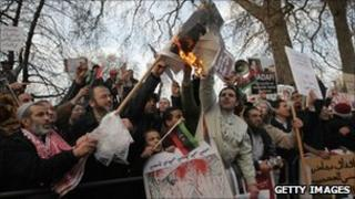 Demonstrators opposed to the regime of Libyan leader Col Muammar Gaddafi in Hyde Park on 17 February