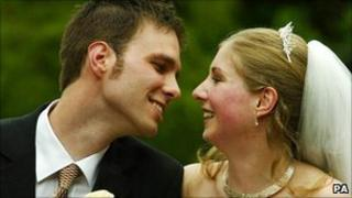Karen Watts and Martin Reijns who wed in Edinburgh in 2005 - the UK's first legal humanist marriage
