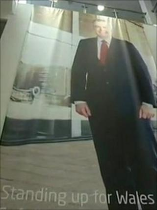 A giant poster of Carwyn Jones dominated the foyer at Llandudno