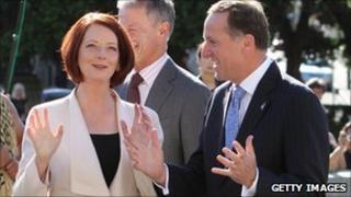 Prime Minister of Australia Julia Gillard is welcomed by Prime Minister of New Zealand John Key