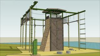 An artist's impression of the high ropes facility