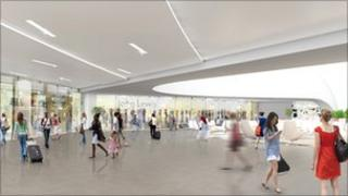 Artist's impression of station concourse with proposed John Lewis store