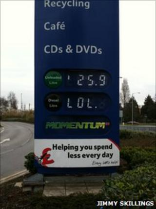 Petrol price sign showing unleaded 25.9 pence per litre with the letters LOL underneath