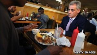 """Rahm Emanuel chats with diners during a campaign stop at Mac Arthur""""s restaurant"""