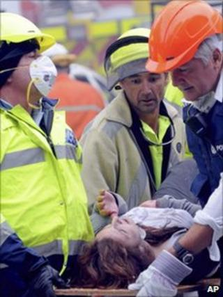 New Zealand rescue teams with a casualty