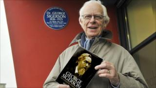 Ken McGilloway with his book on George Sigerson