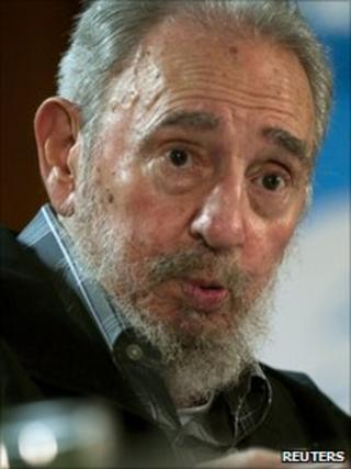 Fidel Castro speaks during a meeting with Cuban and foreign intellectuals visiting Havana's International book fair on 15 February
