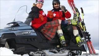 Ski patrollers Kerr McWilliam and Eric Pirie