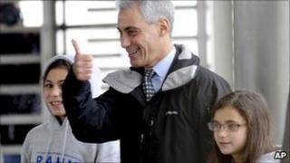 Rahm Emanuel heads to vote
