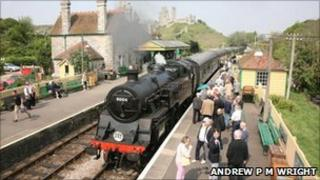 Corfe Castle railway station on Swanage Railway. Copyright of Andrew P M Wright.