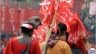 Protesters near the parliament house in Delhi on 23 February 2011