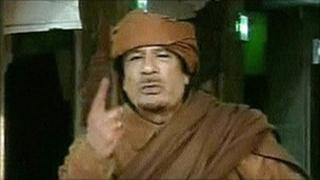 Colonel Gaddafi appearing on state television in Libya