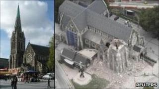 ChristChurch Cathedral, before and after the quake