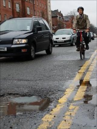 Cyclist and pothole