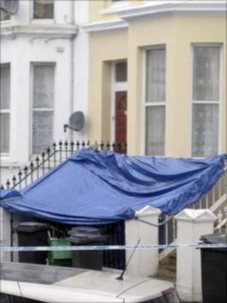 A tarpaulin outside a property in Ceylon Place, Eastbourne