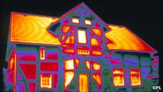 A home viewed through a thermal imaging camera