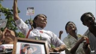 Supporters of Aung San Suu Kyi in Rangoon