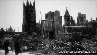 Bomb damage in Plymouth circa 1041