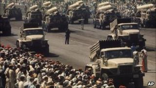 Egyptian army mobilising during the 1973 Yom Kippur War