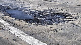 Pothole in Writtle Road in Chelmsford