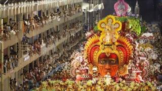Salgueiro samba school parades at the sambardrome in Rio during the 2010 Carnival