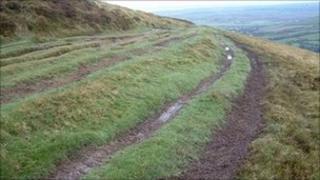 Upland tracks damaged by motorbikes