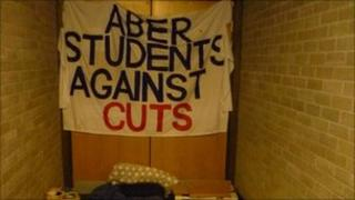 Aber Students Against Cuts banner