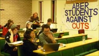 Students at the sit-in in Aberystwyth