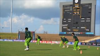 Pakistani cricketers play during a practice session, Sri Lanka