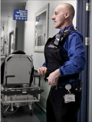 police officer in a hospital