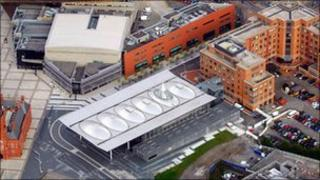 Senedd building from the air