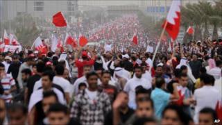 Protesters in Manama, 25 Feb