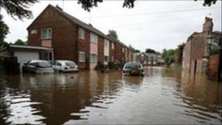 Flooding scene in East Yorkshire
