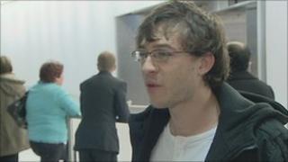 Ben Lydon arriving at Heathrow