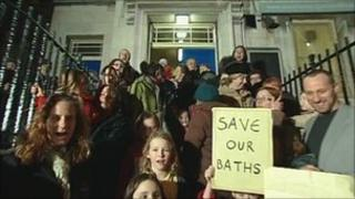 Protesters on the steps of Levenshulme Baths
