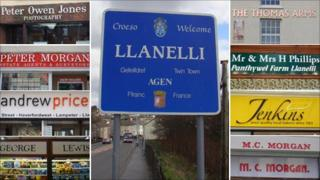 Welcome to Llanelli sign