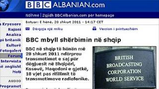 BBC Albanian website - screen grab