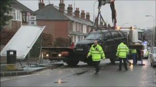 The scene of the bus stop crash