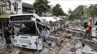 Destruction in Christchurch following earthquake
