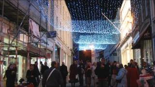 Strings of lights above Smith St, St Peter Port