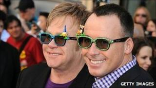 Sir Elton John and David Furnish at Gnomeo And Juliet premiere