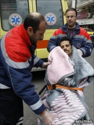A man on hunger strike is taken to hospital in Athens (1 March 2011)