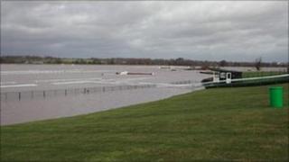 Bangor-on-Dee racecourse under floodwater