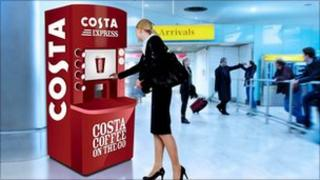 Artists impression of Costa Coffee vending machine