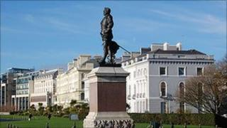 Statue of Sir Francis Drake on Plymouth Hoe