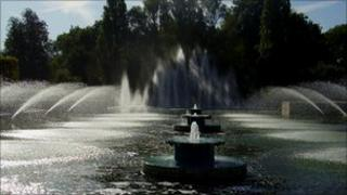 Fountains in Battersea Park's winter garden