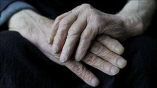 Close up of elderly person's hands