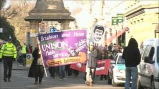 Brighton budget meeting protest